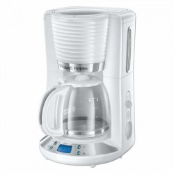 Cafetiera Russell Hobbs Inspire White 24390-56, 1100 W, 1.25 l, Tehnologie WhirlTech, Timer digital, Alb/Crom - 24390-56
