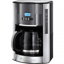 Cafetiera Russell Hobbs Geo Steel 25270-56, 1000 W, 1,5 L, Timer LCD, Selector aroma, Gri/Inox - 25270-56